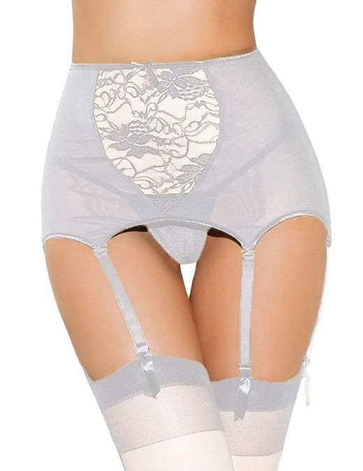 Smooth White Big Size Six Garter Belts With Bowknot Super Comfort