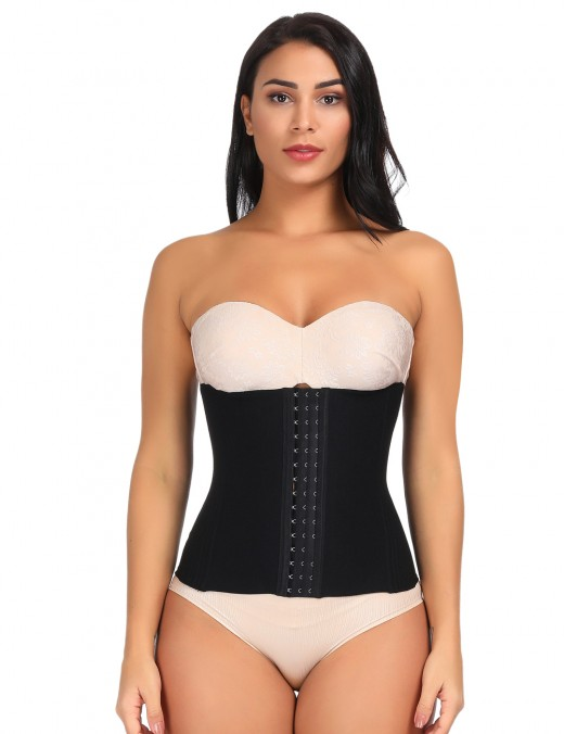 Breathable Black Queen Size Waist Cincher 16 Steel Bones Meticulous Design