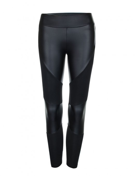 Supper Fashion Black Leather Stitching Tights Natural Outfit Ankle Length