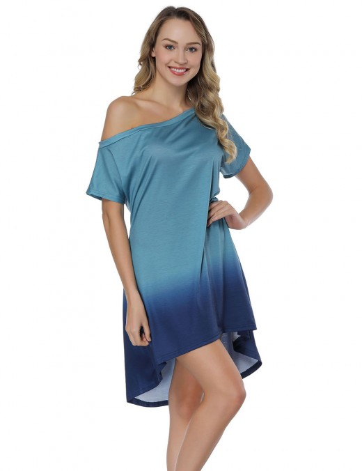 Blue Dip Dye Shift Dress Off The Shoulder Eye Catcher