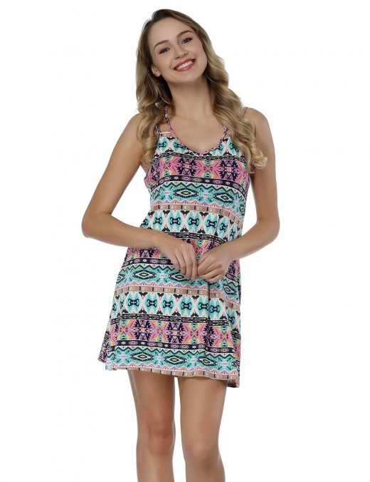 Emotional Pop Print Mini Dress Plunging Back Fabulous Fit