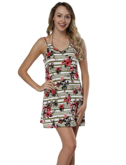 Zealous Crisscross Back Print Dresses Glamor Mini Length