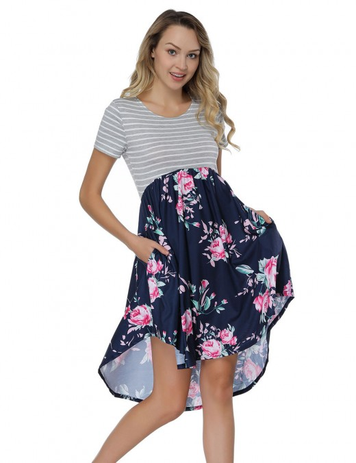 Classy Striped Floral Printing Dresses Striped Top