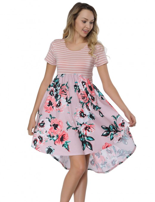 Leisure Fashion Round Neck Irregular Hem Mini Floral Dresses