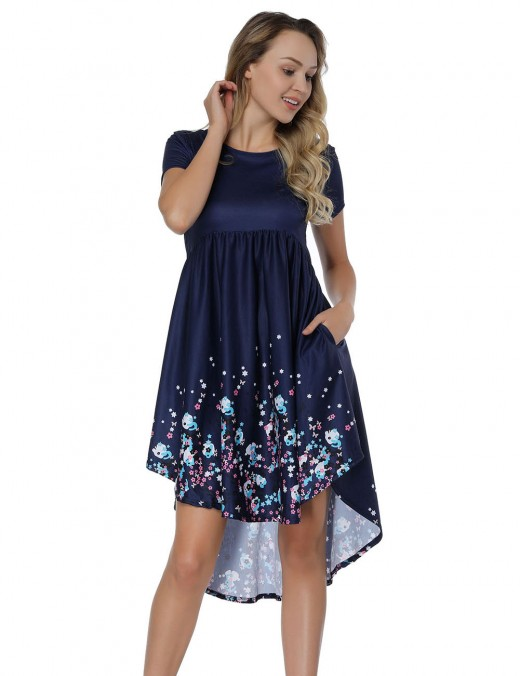 Flower Printing Navy Blue Mini Flare Dresses  Ladies Grace