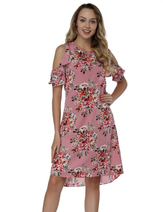 Natural Waist Pink Cold Shoulder Print Mini Dresses Relax Fit