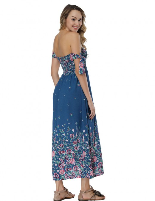 Blue Side Split Tea Length Dresses Off The Shoulder Classic