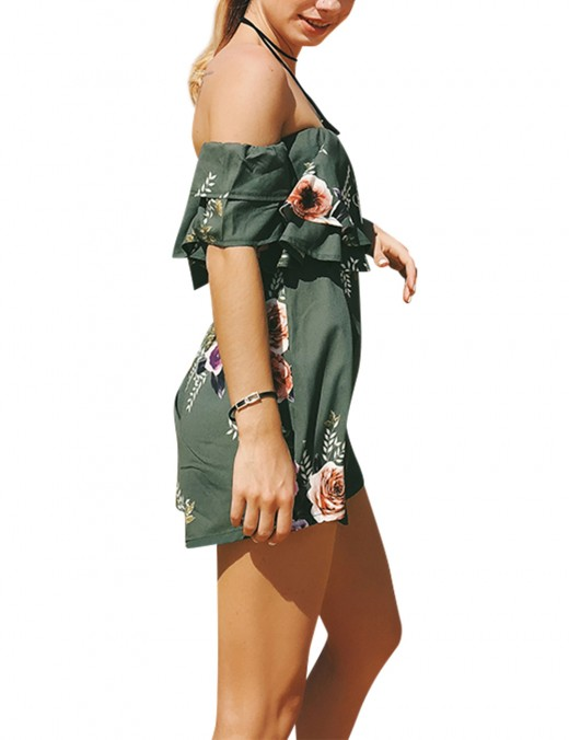 Comfortable Bandeau Neck Green Print Romper For Vacation