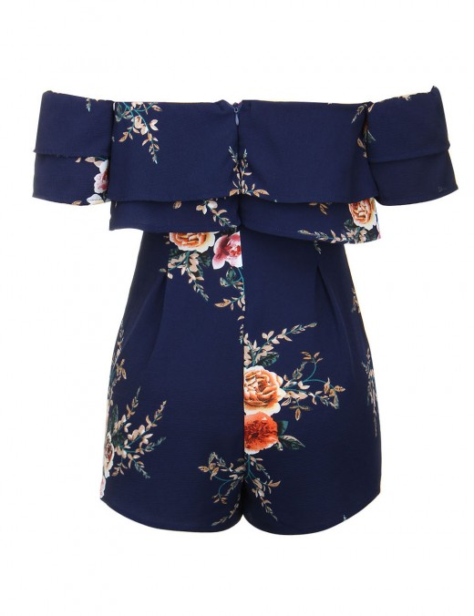Marvelous Navy Blue Bell Sleeve Print Short Jumpsuit Romance