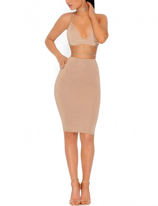 Shimmer Apricot Knotted Backless Bodycon Two Pieces Dress Luscious