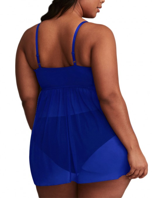 Dark Blue Mesh Crossover Straps Babydoll Square Back High Quality Full Size