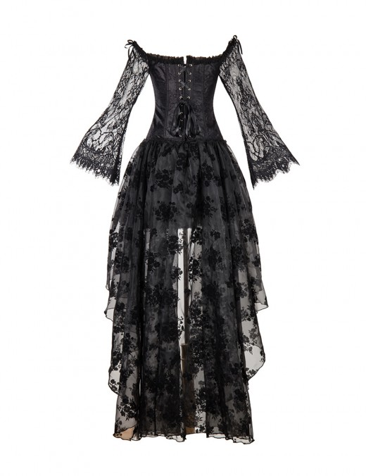 Formawear Floral Lace Mesh Black Corset Sets Full Sleeve