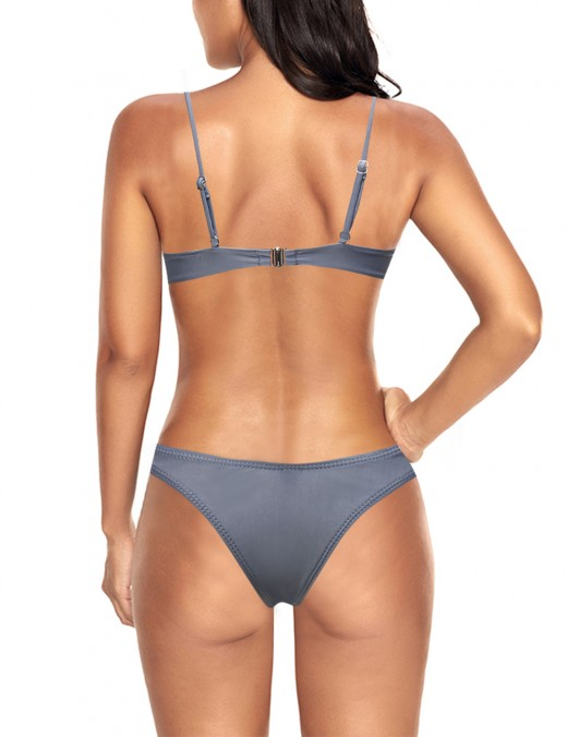 Stunning Style Grey Leaky Hip Bikini Hook Eye Gather Cup WireBriefs