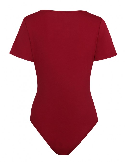 Wine Red Pure Color Bodysuit Deep V-Neck Snap Button For Hanging Out