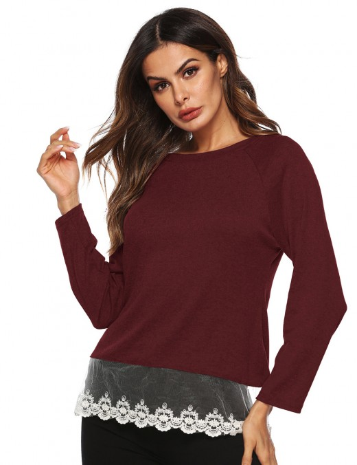 Super Sexy Wine Red Crew Neckline Blouse Full Sleeves Lace