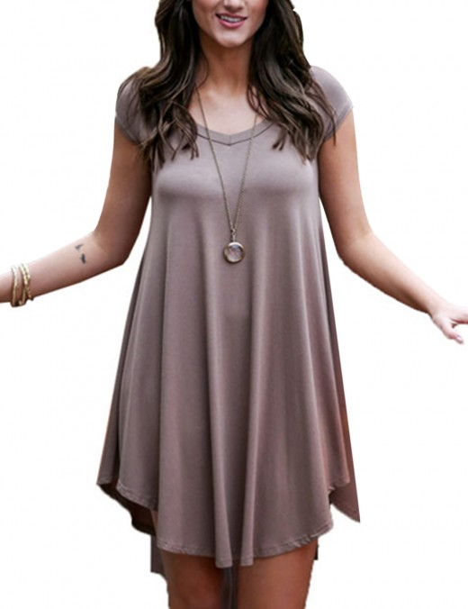 Subtle Brown Unsymmetrical Hem Queen Size Dress Plain Good Elasticity