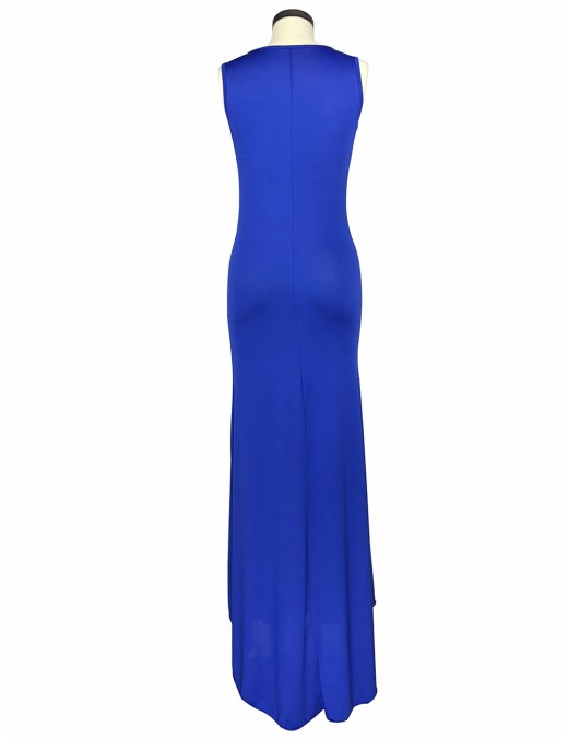 Feminine Blue Solid Color Crew Collar Maxi Dress Sleeveless Leisure Wear