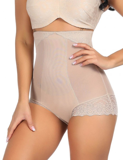 Dreamlike Nude Lace Patchwork High Rise Butt Lifter Big Size Delightful Garment
