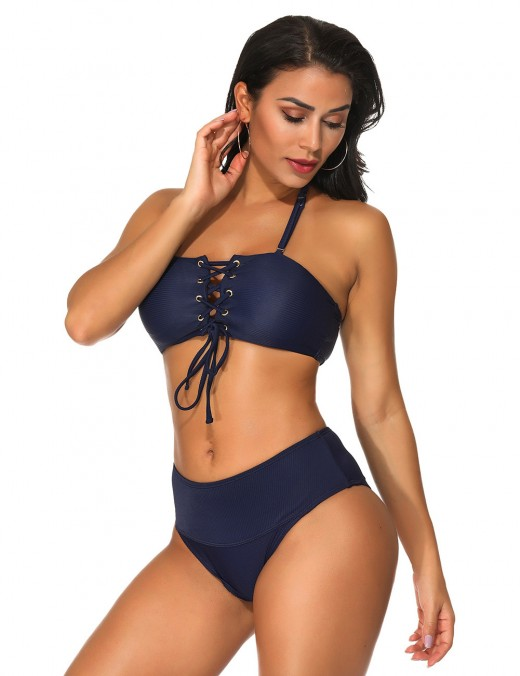 Sassy Dark Blue Light Yellow Plain Wireless Padded Bathing Suit
