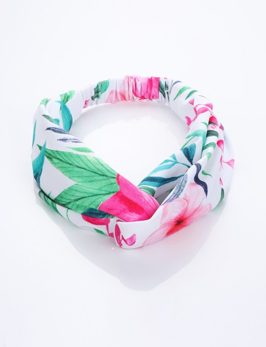 Asymmetrical Parent-Child Ruched Headband Leaf And Flower Pattern Women's Fashion