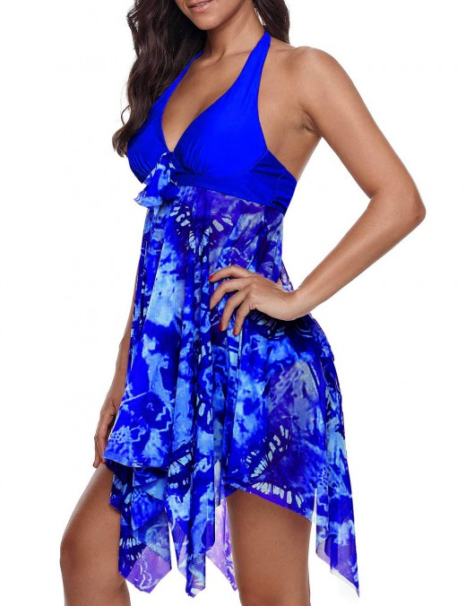 Simply Chic Sapphire Blue Deep V-Neck Padding Swimming Dress Queen Size
