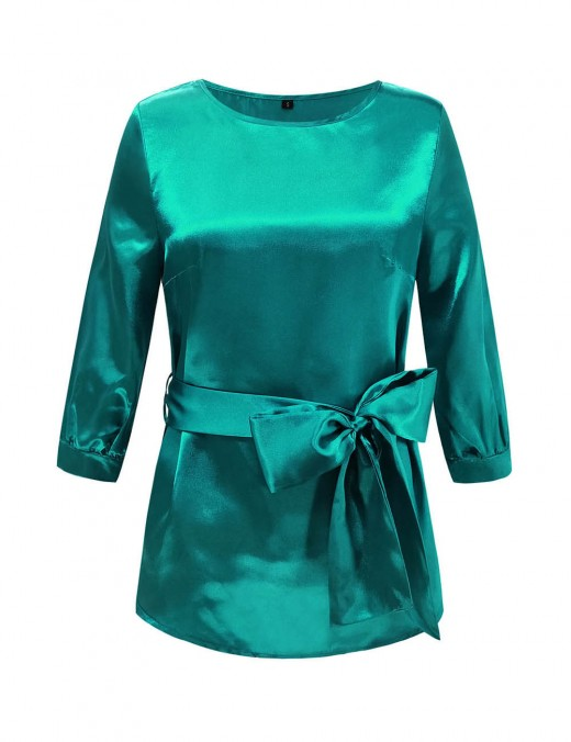 Effortless Green Round Collar Solid Blouse Asymmetrical Hem Unique Fashion