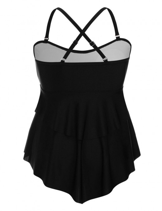 Extraordinary Black Big Size Ruched Two Pieces Swimsuit Irregular Hem Romance