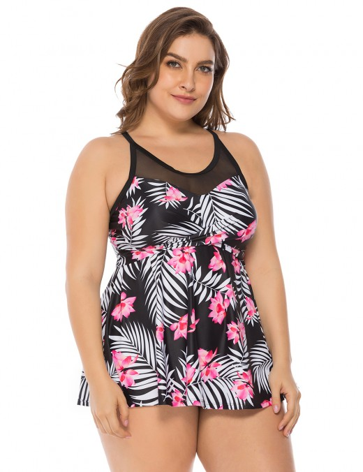 Premium Quality Floral Pattern Mesh Swimming Suits Queen Size Womens