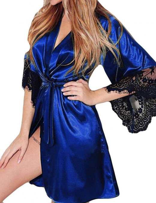 Playboy Sexy Blue Floral Lace Robe 3-Piece Bedgown Queen Size Comfort