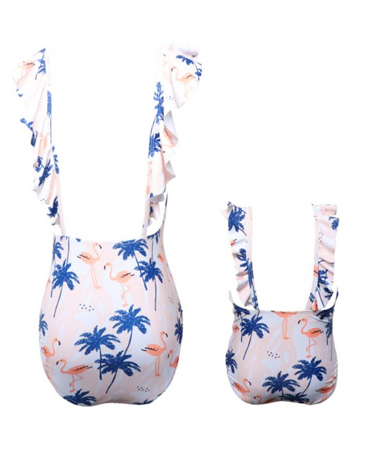 Glam Flamingo Print Family Beachwear V-Neck Ruffle For Ladies