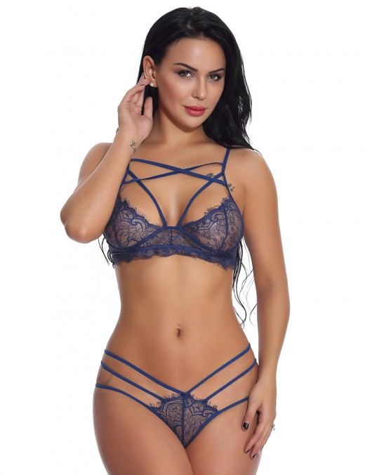 Cutie Blue 2 Pieces Strappy Bralette Spaghetti Straps Top Quality