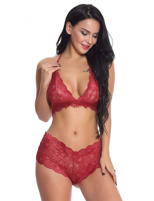 Supper Fashion Wine Red Two Piece Triangle Bralette Lace Scallop All Over Close Fit