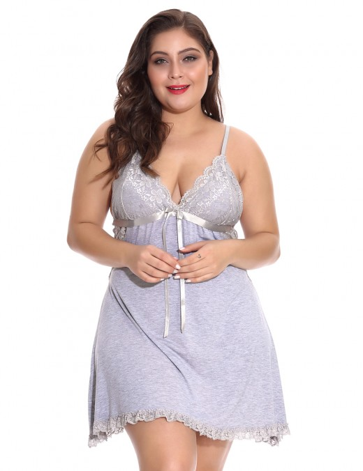 Adorable Grey Cut Out Chemise Plus Size Thin Straps Cool Fashion