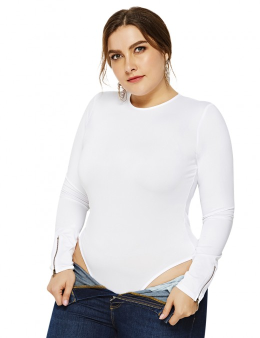Unique White Round Neck Jumpsuit Plus Size Full Sleeves Leisure Wear