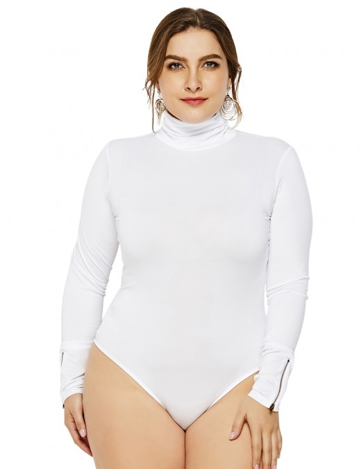 Naughty White Plus Size Turtleneck Rompers Zipper Decor Fashion Sale