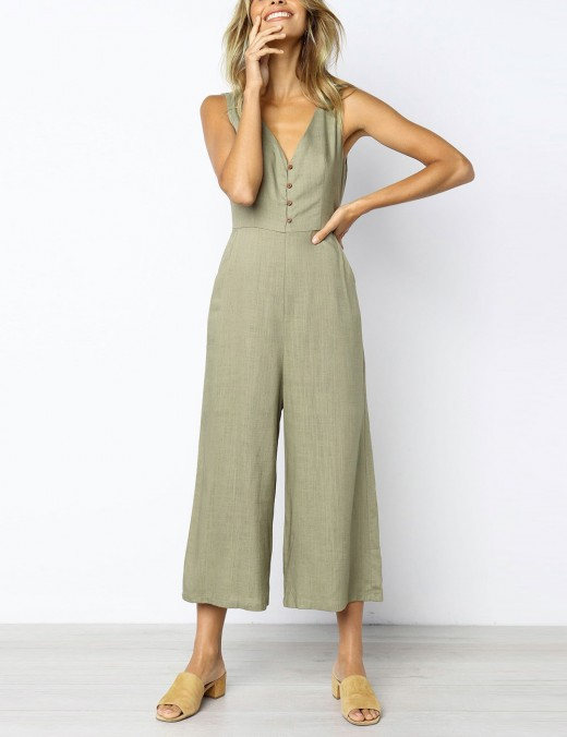 Dreamy Khaki Sleeveless Jumpsuit Wide Leg With Button Leisure Wear