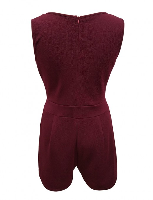 Catching Wine Red Pure Color Jumpsuit Stitching Short Length Eye Catcher
