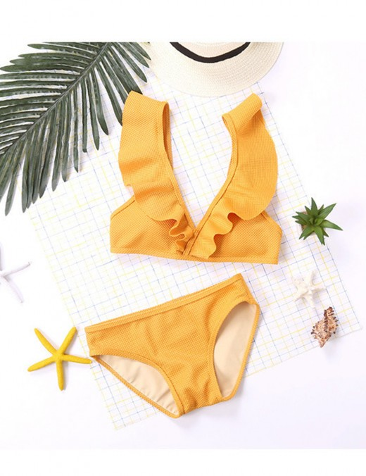 Feisty Plunging Neck Ruched Bikini Low Waist Summer Time
