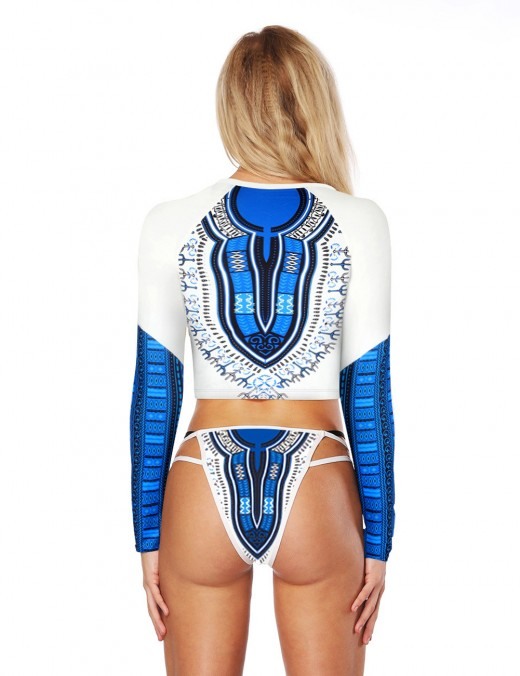 Abstract Front Zip Tribal Printed Swimsuit With Thong Girls Fashion