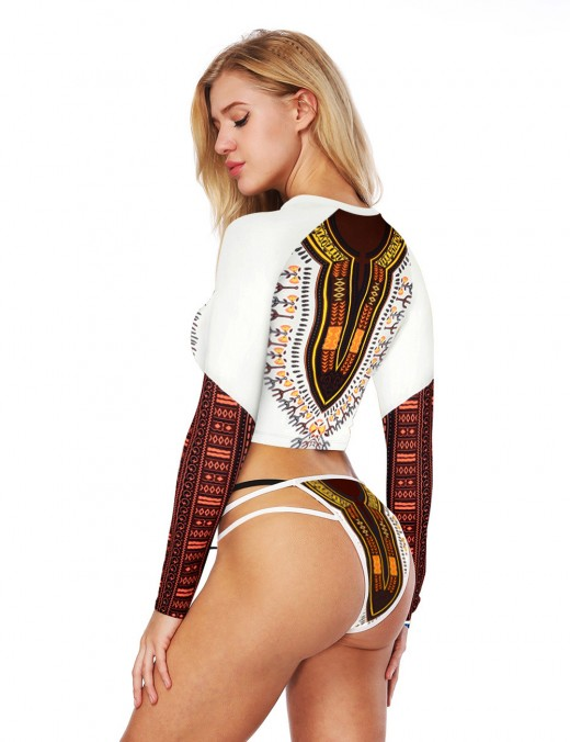 Classic Long Sleeves Cropped Bathing Suit African Print Good Elasticity