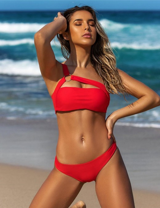 Well-Suited Solid Color One Shoulder Bikini Low Waist Fashion Trend