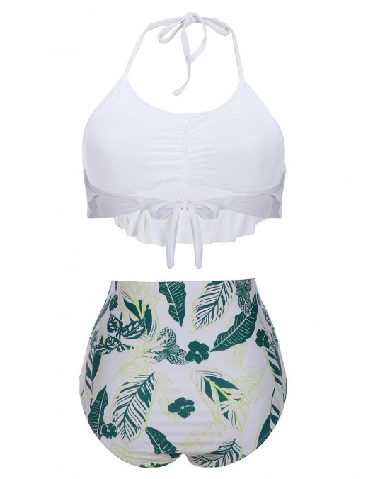 Absorbing Blackish Green Floral Print Ruched Bikini Halter Collar Beach