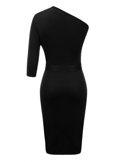 Maiden Black Big Size Plain Bodycon Dresses Single Shoulder Comfort Devotion