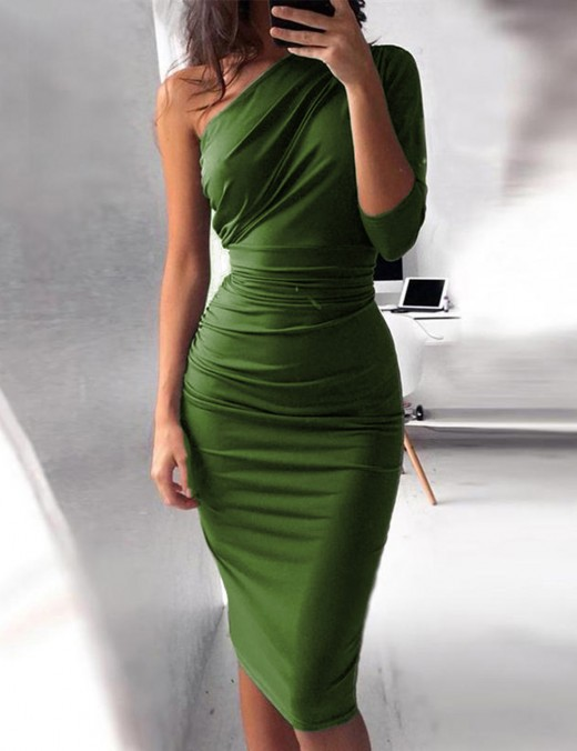 Trendy Green 1/2 Sleeves Plain Bodycon Dress Large Size Natural Fit