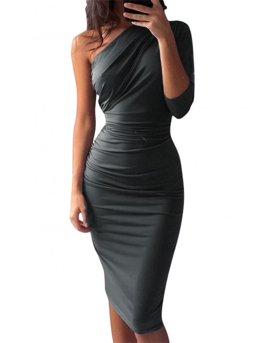 Angel Grey Queen Size Bodycon Dress Knee Length Solid Color