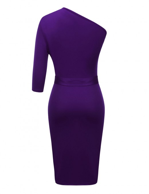 Eye Catch Purple Queen Size Bodycon Dress Waist Sash Pure Color