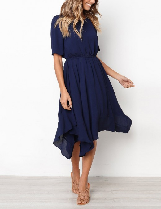 Inviting Navy Blue Pure Color O-Neck Skater Dress Under Knee For Vacation