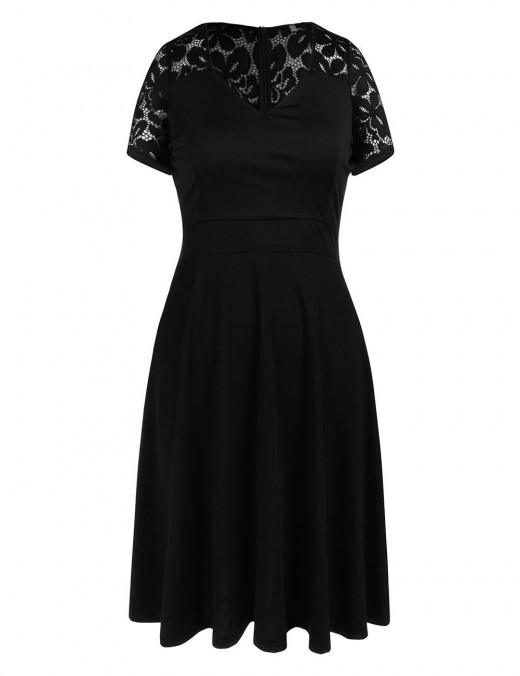 Comfortable Black Short Sleeves Vintage Dress About Knee Length Feminine Charm