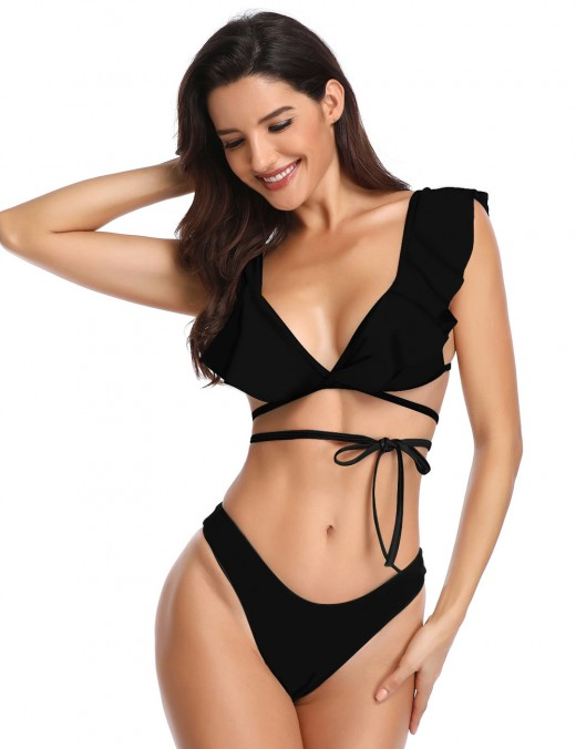 Dreaming Black Backless Strappy Bikini High Cut Pure Color Weekend Time