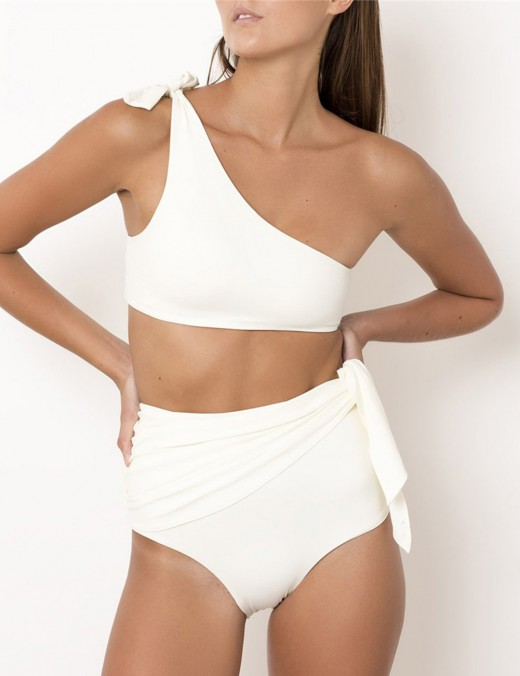 Individualistic White Padded Plain Woman Bikini One Shoulder With Knot